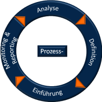 Process analysis, definition, implementation, monitoring and reporting